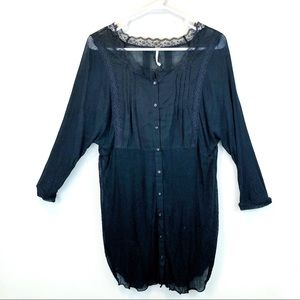 Free People Black Sheer Lace Button Up Tunic Large
